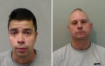 Two men in custody after police find them 'tied up on bench and covered in paint'