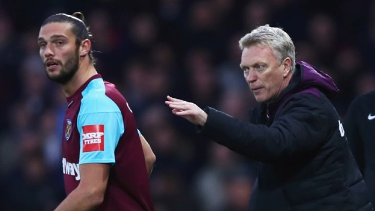 Andy Carroll and David Moyes involved in heated training ground exchange