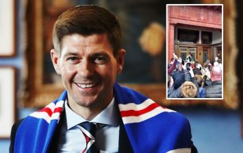 Unfortunate sectarian chants outside Ibrox during Steven Gerrard unveiling