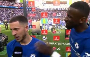 Antonio Rudiger used his post-match interview to beg Eden Hazard to stay at Chelsea