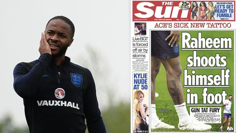 Raheem Sterling responds to The Sun's front page on his new gun tattoo