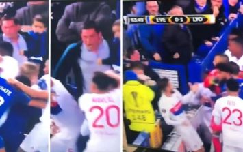 Everton fan who attacked Lyon players while holding son has been jailed