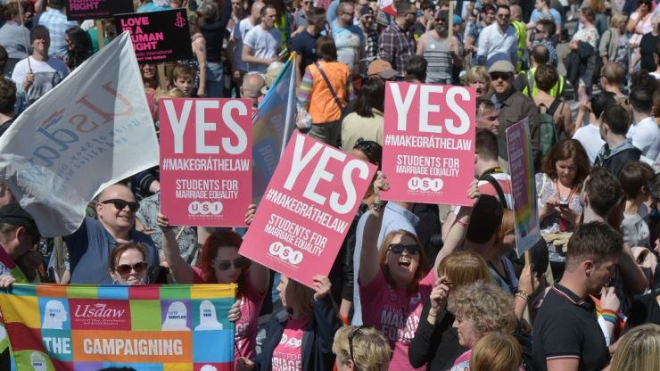 Thousands march in only place in UK same-sex marriage is illegal