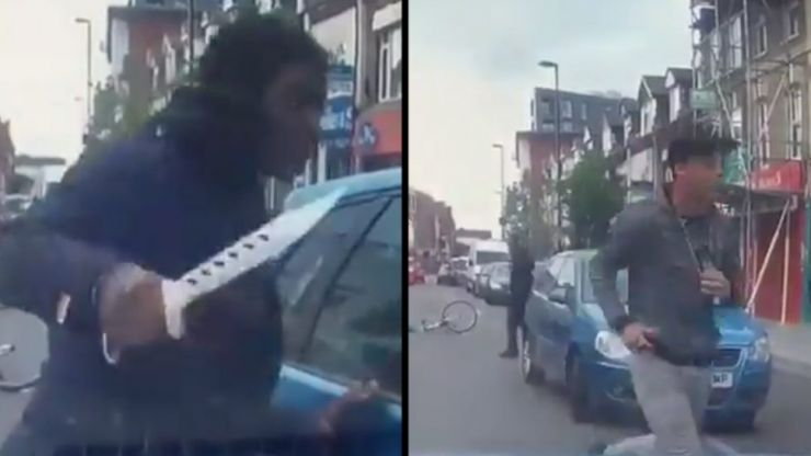 Terrifying road rage incident: Cyclist attacks car with huge zombie knife