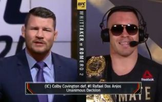 Michael Bisping tears into Colby Covington to his face after interim title win
