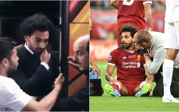 Fan shoved away after grabbing Mohamed Salah's injured shoulder for selfie