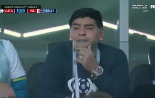 Diego Maradona spotted making 'racist gesture' during Argentina vs Iceland match