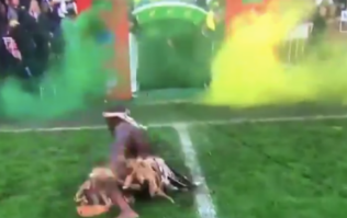 South African tribal dancers try to frighten England Rugby team, slip all over soaking wet pitch