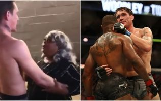 Darren Till embraced by Tyron Woodley's mother backstage at UFC 228