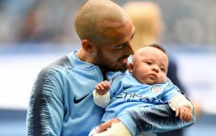 David Silva brings son Mateo onto pitch prior to Huddersfield match