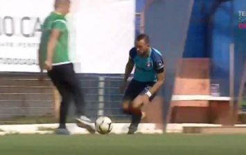 Romanian manager sent off for trying to tackle player