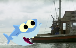 Jaws, but with the Baby Shark family instead of real sharks