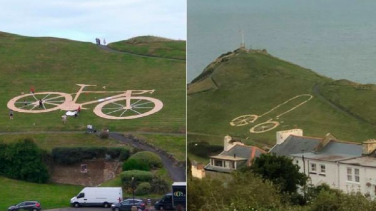 Quiet town wakes up to find Tour of Britain bike has been turned into huge penis
