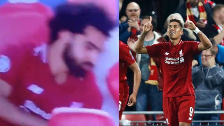 Some mistakenly thought Mo Salah reacted angrily to Roberto Firmino's winner against PSG