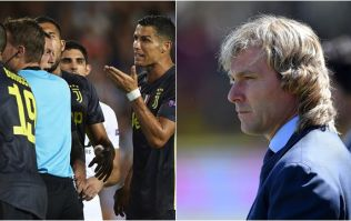 Pavel Nedved paid the referee a little visit after Cristiano Ronaldo's red card