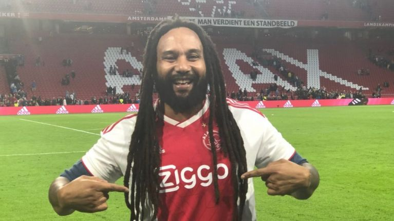Bob Marley's son sings Three Little Birds at half-time of Ajax match