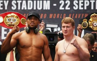 Anthony Joshua weighs in almost two stone heavier than Alexander Povetkin