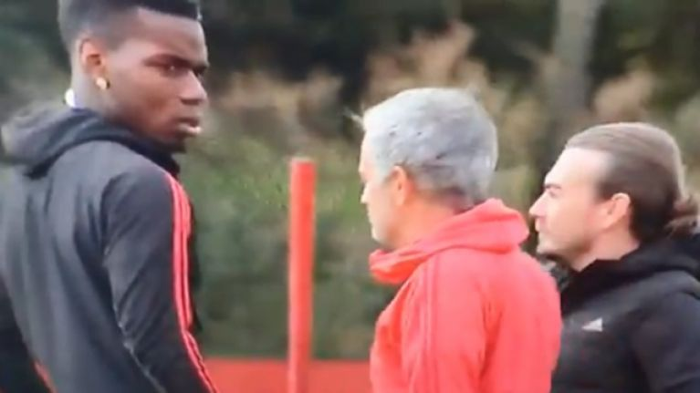 Jose Mourinho and Paul Pogba filmed in tense exchange at Man United training