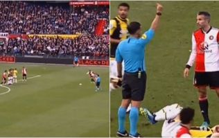 Robin van Persie receives straight red card moments after perfect free kick