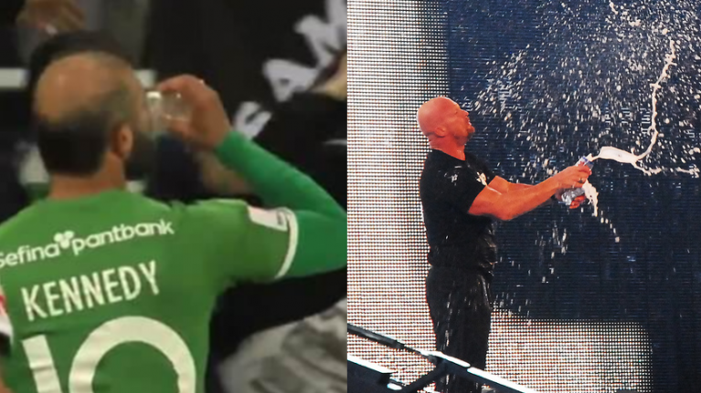 Swedish footballer channels his inner Stone Cold with beer celebration
