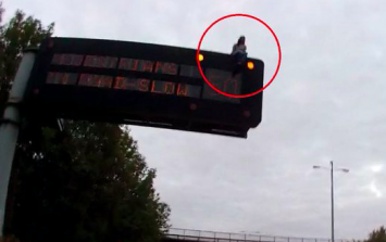 Man brings M1 to a halt for several hours after climbing on top of traffic sign