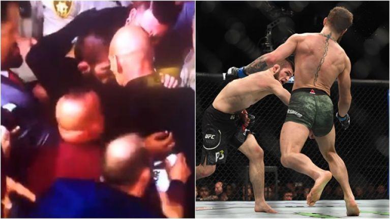 Khabib Nurmagomedov hops fence to attack Conor McGregor's teammate after UFC 229 win