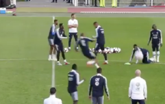 WATCH: France squad mock Ousmane Dembele after Kylian Mbappe's skill causes him to slip