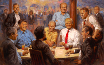 Donald Trump hangs painting of himself and Abraham Lincoln up in the White House