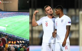 Jordan Henderson watches England's victory in Spain with fans