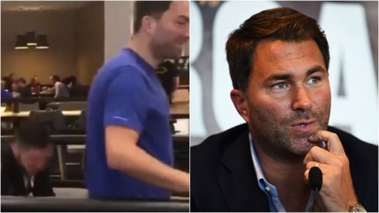 Eddie Hearn's shorts pulled down by his own fighter in Boston