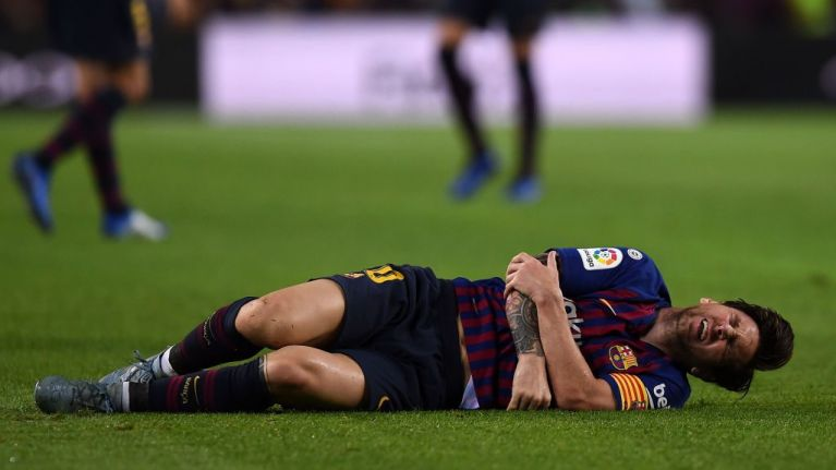 Lionel Messi out of El Clasico as he fractures arm against Sevilla