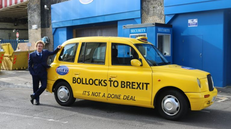 'Millionaire plumber' pays driver to ride around London in 'Bollocks To Brexit' taxi cab