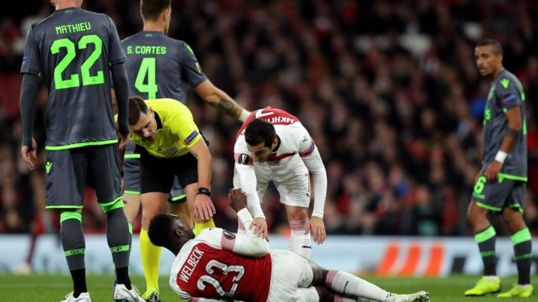 Danny Welbeck forced off on stretcher after suffering devastating injury in Europa League tie