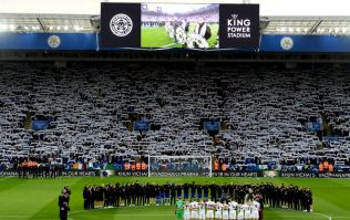 Leicester City broadcast emotional video in memory of Vichai Srivaddhanaprabha on big screen at King Power Stadium