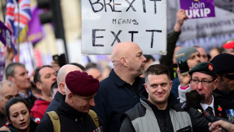 Three arrests as Tommy Robinson 'Brexit Betrayal' protest and counter-protest flood central London