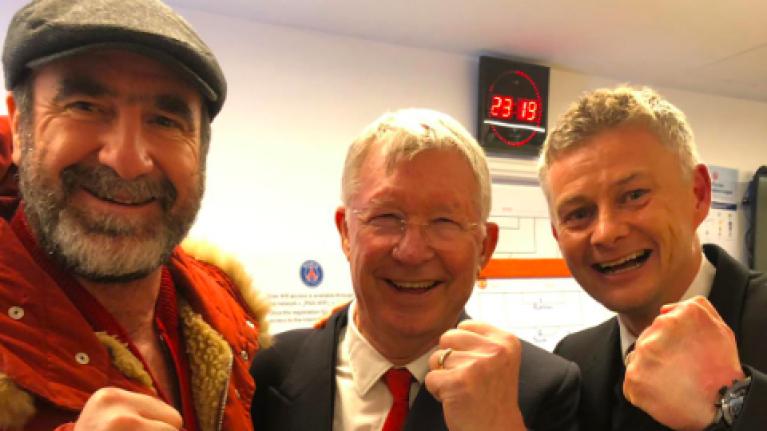 Alex Ferguson, Eric Cantona and Solskjær pose for selfie after Manchester United win over PSG