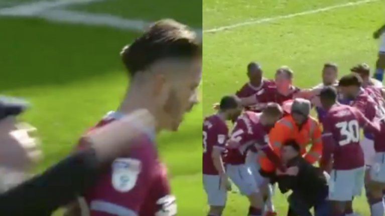 Jack Grealish punched in the head by Birmingham fan during Second City Derby