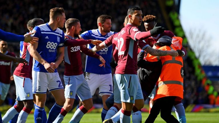 Birmingham City and Aston Villa charged for failing to control their players