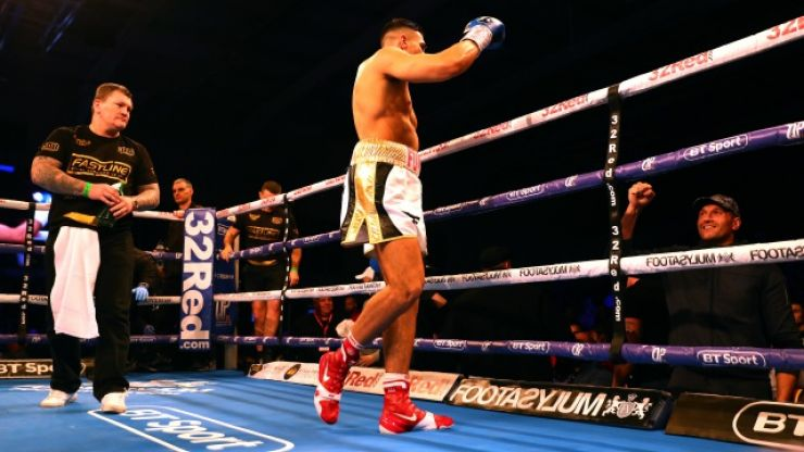 Tyson Fury watches on as younger brother, Tommy, scores first stoppage of professional career