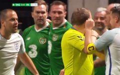 Michael Owen and Jason McAteer kick off in Ireland vs England Star Sixes match