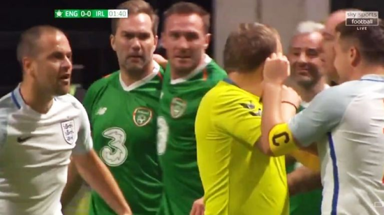 Michael Owen and Jason McAteer kick off in Ireland vs England Star Sixes match