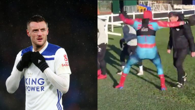 This? Oh, just Jamie Vardy dressed as Spider-Man, scaring Claude Puel