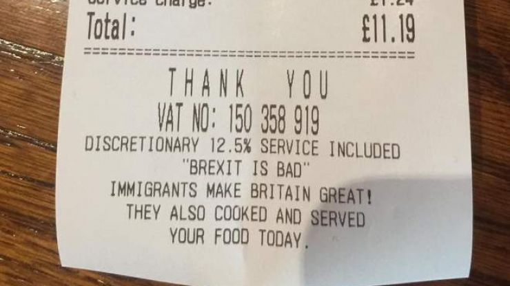 Restaurant owner refuses to remove anti-Brexit message from receipts