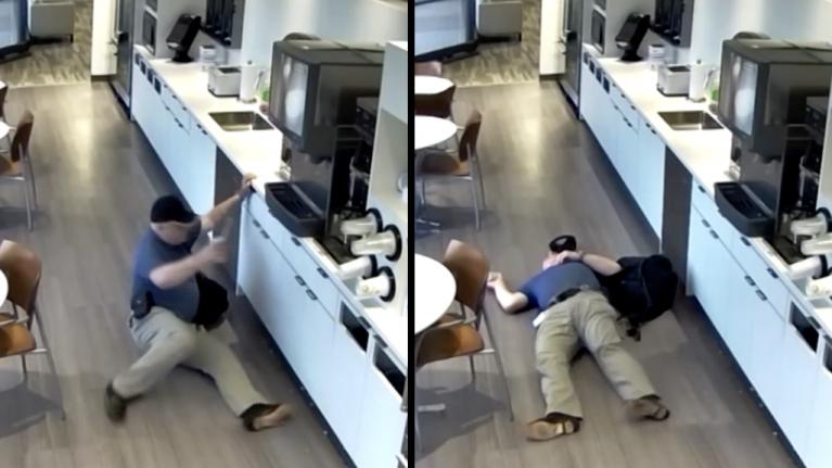 A scene by scene breakdown of the man caught pretending to slip on ice cubes