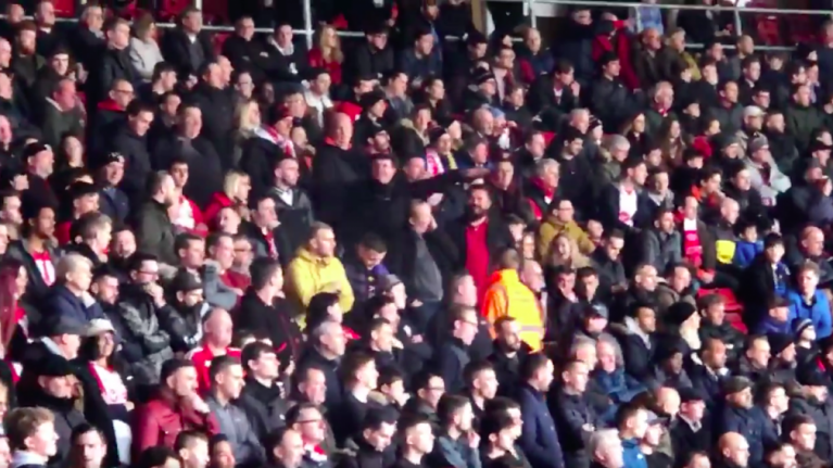 Two Southampton fans arrested after making aeroplane gestures to Cardiff City supporters