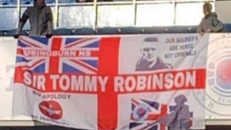 Outrage sparked after 'Sir Tommy Robinson' banner unfurled at Rangers match