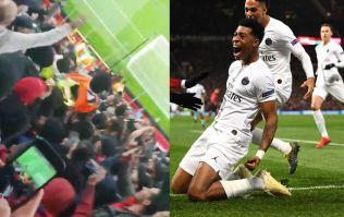 PSG fans pick up Old Trafford steward during Man Utd win