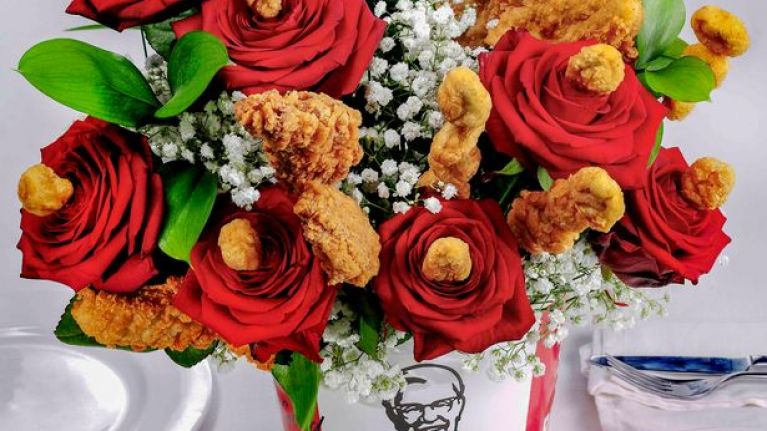 You can get your Valentine a 'Bouquet du Poulet' from KFC because... romance