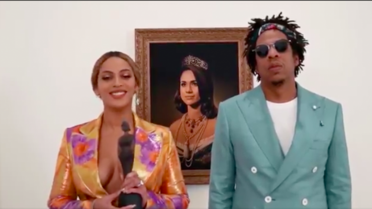 Beyonce and Jay-Z accept BRIT award in front of Meghan Markle portrait