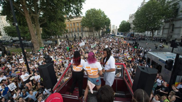 Demonstrators party and protest in London against Boris Johnson